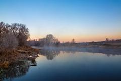 Morning mist over the river Don. Photographed in Russia. - stock photo