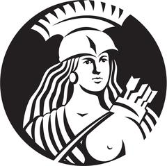 Stock Illustration of Female Spartan Warrior Circle Black and White
