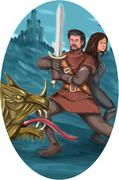 Cavalier and Lady Fighting Dragon Oval Watercolor - stock illustration