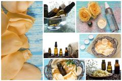 Spa series. Collage of wellness products in natural dayspa setting. - stock photo