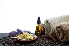 organic soap bottles essential oil sea salt herbal bath - stock photo