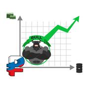 Bull and graph growth of Russian ruble. Quotations increase money in Russia.  Stock Illustration