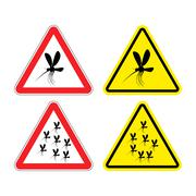 Warning sign attention mosquitoes. Hazard yellow sign Zika virus. flock of mo Stock Illustration