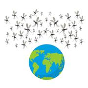Zika virus mosquitoes. Fflock of mosquitoes. Attack on Earth.  Earth is in da - stock illustration