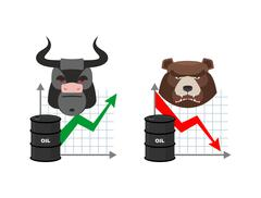 Oil quotations increase. Barrel of oil declines. Bull and bear. Business grap - stock illustration
