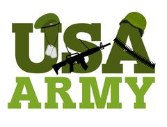 United States Army. Military text logo. American army. Green beret and protec Stock Illustration