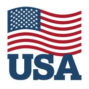 Flag USA. Developing America flag on white background. Patriotic illustration Stock Illustration