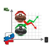 Rise and fall of Russian ruble. Change quotes of national currency. Oil and d - stock illustration