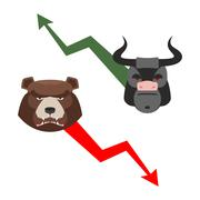 Bull and bear. Traders allegory. Green up arrow-increase shares. Red down arr Stock Illustration