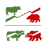 Bull and bear. Rise and fall of securities. Green Bull. Red bear. Confrontati Stock Illustration