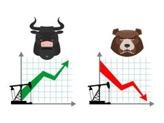 Bear and bull. Quotations of oil production. Oil rig. Depreciation of oil. Gl Stock Illustration