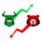 Green Red Bull and bear. Traders at stock exchange. Business allegory. Fall a Stock Illustration