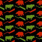 Bulls and bears traders seamless pattern. Green Red Bull and bear. Rise and f Stock Illustration