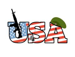 US Army emblem. Flag of  United States. Military green beret. Rifle. Soldiers - stock illustration