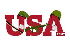 US Army. Symbol Of Americas Army. logo for U.S. armed forces. Soldiers access - stock illustration