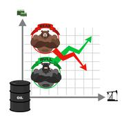 Rise and fall of oil prices. Bets on the Exchange. Bears and bulls. Red and g Stock Illustration