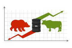 Oil prices. Rise and fall of oil sales. Bear and bull. Business chart Exchang - stock illustration