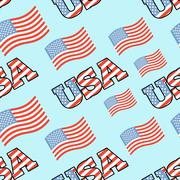 USA patriotic seamless pattern. American flag texture. Background of State sy Stock Illustration