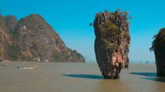 Rock Sticking Out of the Water in James Bond Rock in the Phang Nga Bay - stock footage