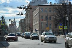 Moscow, Russia - March 14, 2016. General view of  street Staraya Basmannaya - stock photo