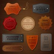 Leather Label Set - stock illustration