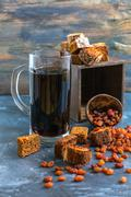 Kvass is a traditional Russian drink in a glass. - stock photo