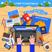 Trip To Australia Illustration - stock illustration