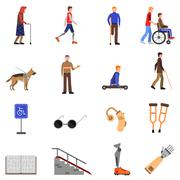 Disabled Handicapped People Flat Icons Set - stock illustration