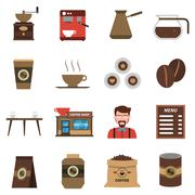 Coffee Shop Flat Icons Set Stock Illustration