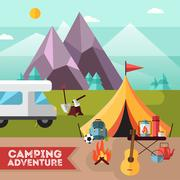 Camping Hiking Adventure Flat Background Poster Stock Illustration