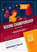 Boxing Championship Poster - stock illustration
