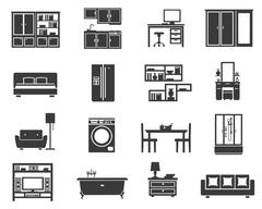 Concept Isolated Furniture Icon Set - stock illustration
