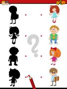 Preschool shadow activity with kids Stock Illustration