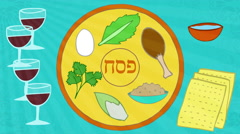 Passover animation with seder elements. Happy Passover greeting at the end. Stock Footage
