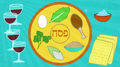 Passover animation with seder elements. Jag Sameaj greeting at the end. Stock Footage