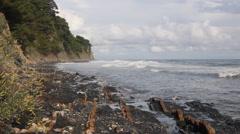 Rocks on wild coast Stock Footage