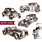 Retro car sketch for your design. - stock illustration