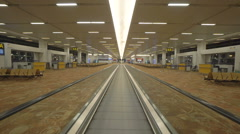 Moving walkway in international airport, Delhi, India Stock Footage