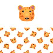 Leopard Head Icon And Pattern - stock illustration