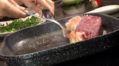 Grilling a beef steak: T-bone steak, beef, Italian cuisine Stock Footage
