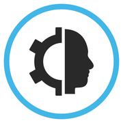 Cyborg Gear Flat Rounded Vector Icon - stock illustration