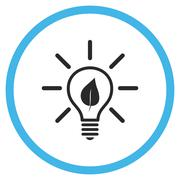 Eco Light Bulb Flat Rounded Vector Icon Stock Illustration