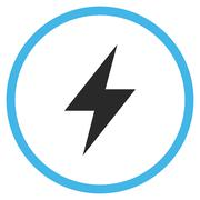 Electric Strike Flat Rounded Vector Icon Stock Illustration