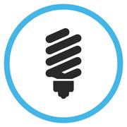 Fluorescent Bulb Flat Rounded Vector Icon Stock Illustration
