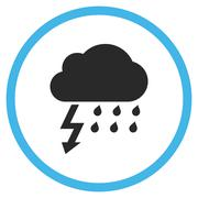 Thunderstorm Flat Rounded Vector Icon - stock illustration
