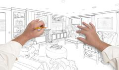 Male Hands Drawing Custom Living Room Design on White. Stock Photos