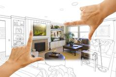 Female Hands Framing Custom Living Room Drawing Photograph Combination. Stock Photos