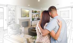 Military Couple Looking Over Living Room Design Drawing Photo Combination Stock Photos