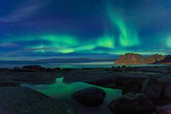Aurora over the sea - stock photo