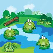 Little frogs in the pond - stock illustration